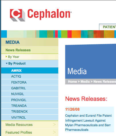 Cephalon.com news product and archive menu