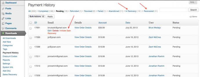 """1. Payment History with """"Initiate Sales Recovery"""""""