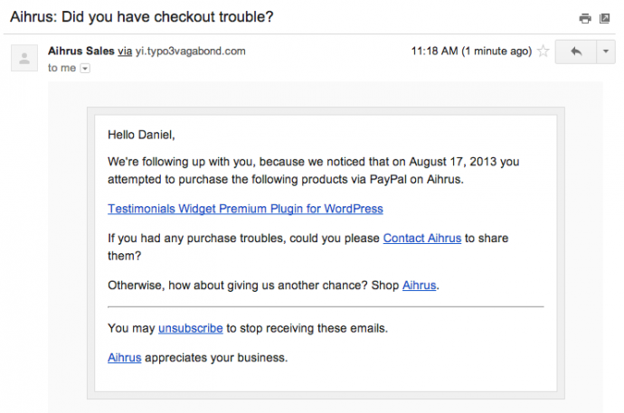 7. Example of initial follow-up email