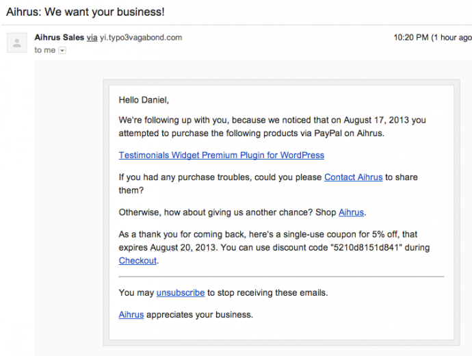 8. Example of interim follow-up email with discount code