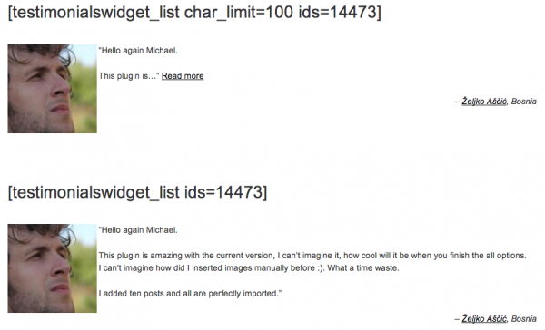 1. Single `[[testimonialswidget_list]]` entry with and without 'Read more' link